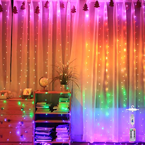 Led Curtain String Lights for Bedroom Deco Wedding Party Christmas Indoor/ Outdoor Decoration USB Hanging Light with Remote Control 9.8Ft×9.8Ft【Rainbow Color-280LED】