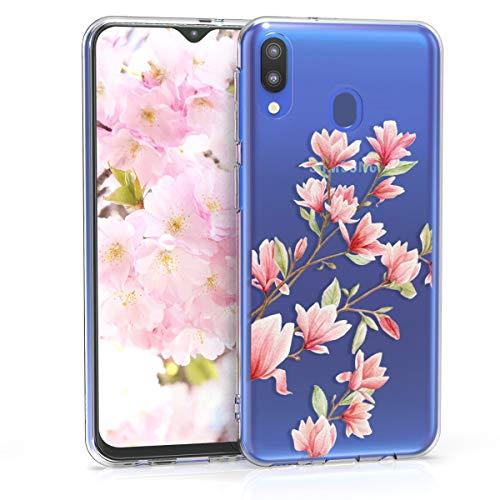kwmobile Funda Compatible con Samsung Galaxy M20 (2019) - Carcasa de TPU y Magnolias en Rosa Claro/Blanco/Transparente