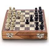 Stylla London® - Juego de mesa y ajedrez de piedra de mármol para niños de 7 años en adelante I para niños y adultos I tabla de ajedrez I juegos de tabla de estrategia I regalo único