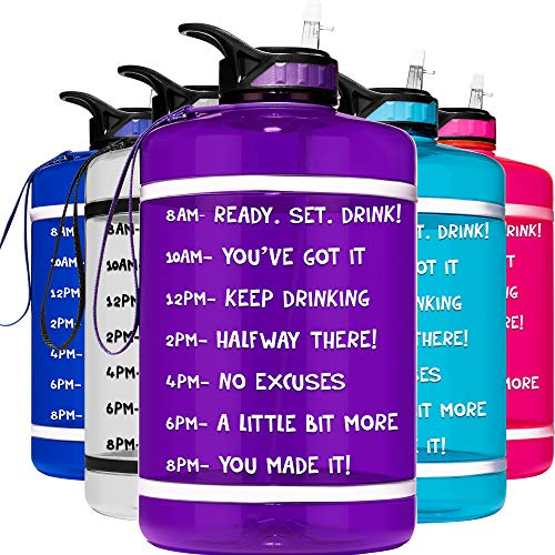 HydroMATE 1 Gallon Motivational Water Bottle with Time Marker Large BPA Free Jug with Straw and Handle Reusable Leak Proof Bottle Time Marked Drink More Water Daily Hydro MATE 128 oz Purple
