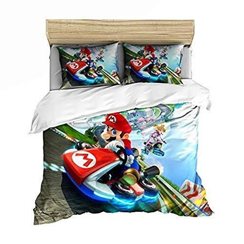 QWAS Super Mario Bros. Funda nórdica de dibujos animados de anime, muy suave y cómoda, para decorar el espacio (A01,200 x 200 cm + 80 x 80 cm x 2)