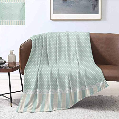 Shabby Chic Baby Blanket 50x60 Inch Traditional Old Fashioned Vertical Stripes Ornaments and Dots Plush Microfiber Blanket for Crib Stroller Nap Almond Green Cream White