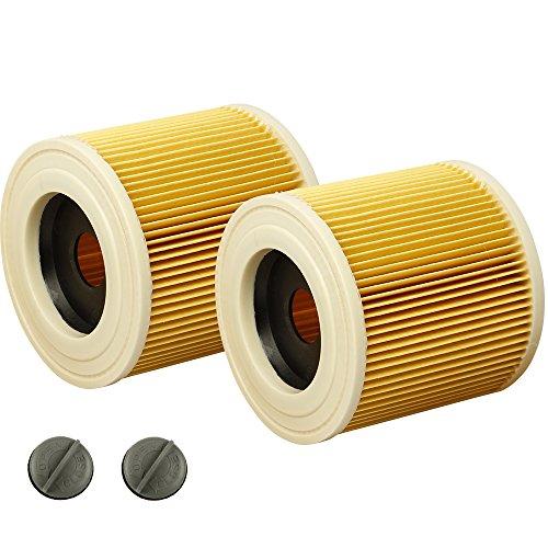 2 filtros para aspiradora Kärcher WD2, WD3, WD3 Premium, MV3, serie A, serie K, SE 4001, SE 4002, como filtro de cartucho 6.414-552.0, 6.414-772.0, 6.414-547.0, se adapta a aspiradoras en seco Kärcher