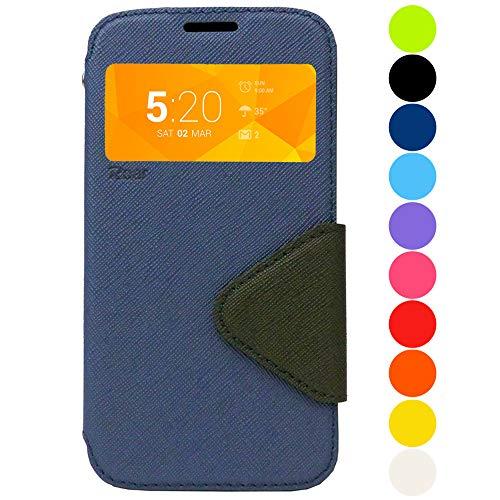 Roar Handyhülle für Samsung Galaxy A5 (2017) Hülle Navy Blau, Tasche Schutzhülle Handytasche [Marken Flip Hülle Wallet mit Sichtfenster, Magnetverschluss, Ständerfunktion] - Navy Blau