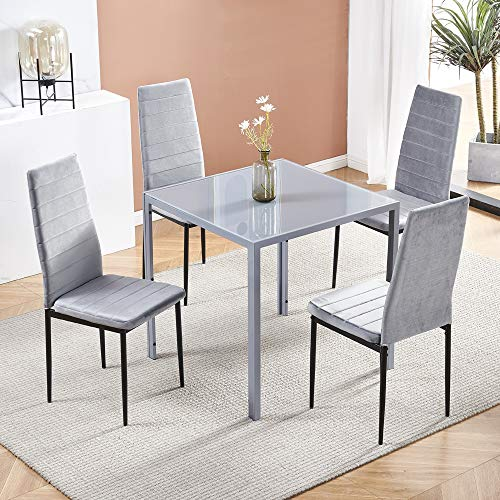 Modern Grey Glass Dining Table and Chairs Set of 4 for Small Kitchen, 5 Piece Grey Glass Tempered Squre Table and 4 Grey Velvet Chairs for Small Dinette Apartment Space Saving