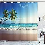 ABAKUHAUS Playa Cortina de Baño, Vista panorámica de los árboles de la Isla, Material Resistente al Agua Durable Estampa Digital, 175 x 200 cm, Azul Verde Pálido Marrón