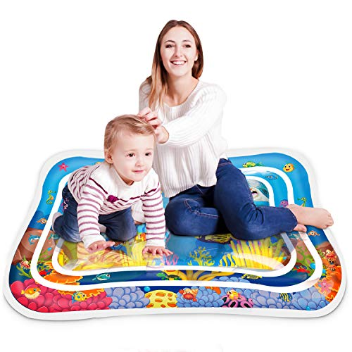 Keten Inflatable Tummy Time Water Play Mat, Leakproof PVC Water Filled Playmat for Children and Infant, Fun Activity Play Center Your Baby's Stimulation Growth (40'' x 32'')