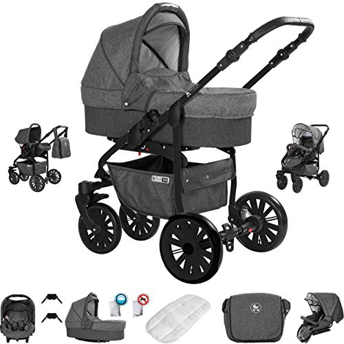 Friedrich Hugo PCS_BERLIN-GEL-DE-GS-02 Friedrich Hugo Berlijn, 3-in-1 combi-kinderwagen, complete set, gelbanden, grijs