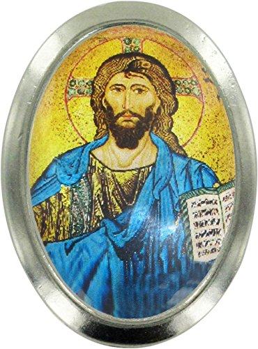 Imán Cristo Pantócrator con el libro abierto de metal niquelado con forma ovalada