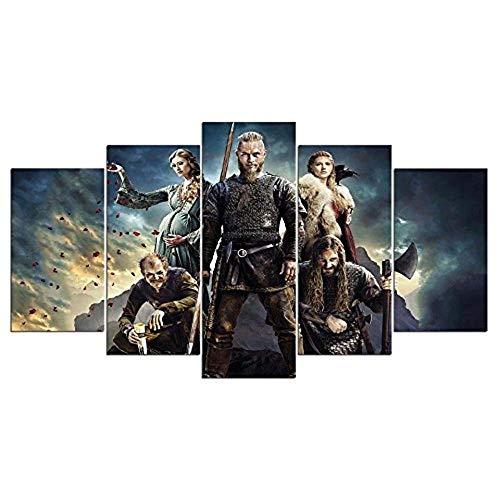 13Tdfc Cuadro En Lienzo, Imagen Impresión, Pintura Decoración, Canvas De 5 Pieza, 150X80 Cm,Serie Vikingos Ragnar Lothbrok Mural Moderno Decor Hogareña