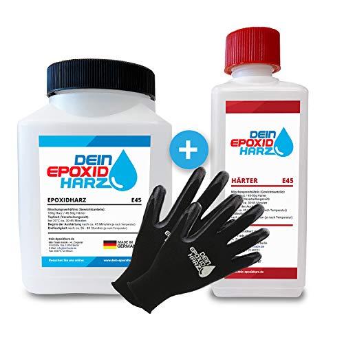 Résine époxy avec durcisseur - 0,75 kg - Qualité professionnelle - Transparent et sans odeur - Résine de coulée pour bois + gants de protection