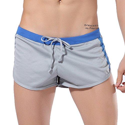 EUCoo Pantaloncini Pugili da Uomo Pantaloncini A Rete da Boxer Mutande Traspiranti Biancheria Intima Confortevole(Grigio,Small)