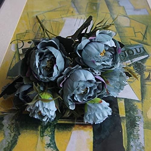 Shabby Chic Bouquet European Pretty Bride Wedding Piccoli Fiori di Seta di peonia Mini Fiori Finti economici per la Decorazione Domestica Indoor (Color : Blue) Copricapo