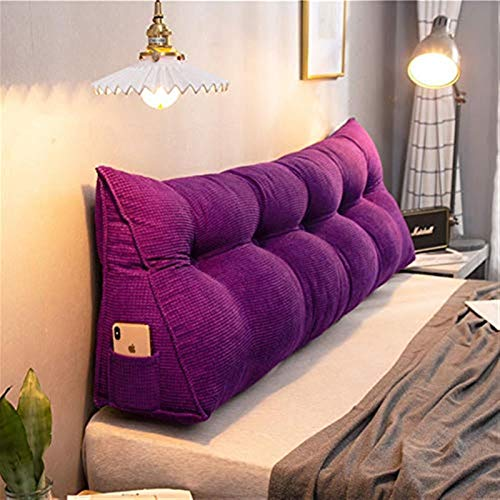 Long Back Cushion Support Wedge Pillow Triangular Reading Bolster Lumbar Cushions for Sofa Bed Day Bed Corduroy,Purple,180 * 50CM