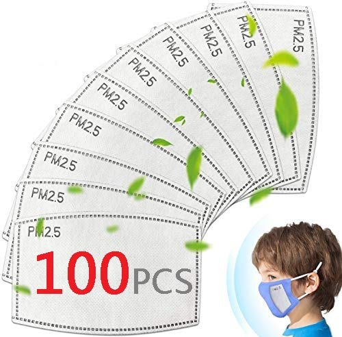 (100Pcs) Face Mask Filters for Kids, 5-Layer Replaceable Filters for Masks, Activated Carbon Face Cover Filters