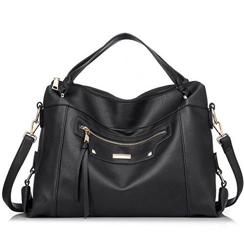 Realer Grande borsa in pelle per capienza del sacchetto di spalla delle donne dell'ufficio Grigio