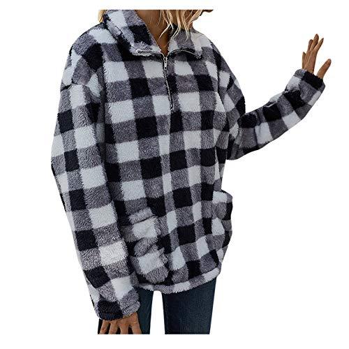 WYZTLNMA Women Sweatshirt Tops Autumn Winter Printed Plush Zipper Sweatshirt Pocket Clothes Pullover Ladies Warm Sweatershirts Black White
