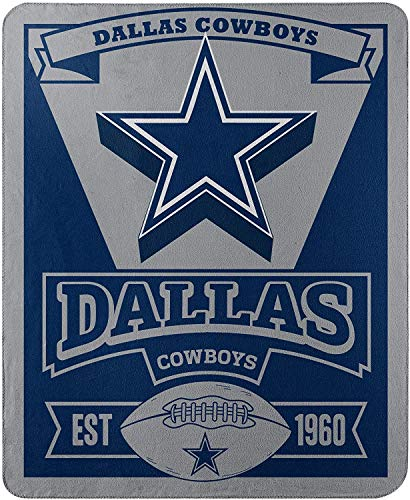 Officially Licensed NFL Dallas Cowboys 'Marque' Printed Fleece Throw Blanket, 50' x 60', Multi Color