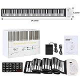 Hricane Roll Up Piano Teclado electrónico portátil con 88 teclas, pedal y Bluetooth, batería USB, altavoz MIDI integrado y micrófono para niños, adultos principiantes