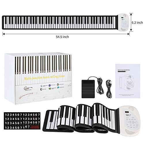 Hricane Roll Up Piano Keyboard, tragbare elektronische Tastatur mit 88 Tasten, Pedal und Bluetooth, USB-Akku, eingebaute MIDI-Lautsprecher und Mikrofon, für Kinder Erwachsene Anfänger