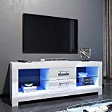 <span class='highlight'><span class='highlight'>ELEGANT</span></span> 1300mm LED TV Cabinet Modern White Gloss TV Stand with Ambient Lights for Living Room and Bedroom with Storage Furniture for 32 40 43 50 52 inch 4k TV