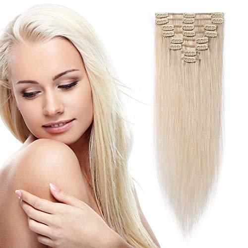 Extension a Clip Cheveux Naturel Epaisseur Fine - Rajout Cheveux Humain Remy Hair 8 Pièces (#70 BLANC BLANCHI, 60 cm (80 g))