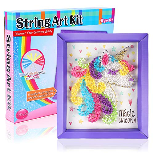 Toyssa Unicornio String Art Kit Niños Unicornio Kit de Bricolaje Manualidades Creativo Juguete Cumpleaños Navidad Unicornio Regalo para Niña 6 7 8 9 10 Años