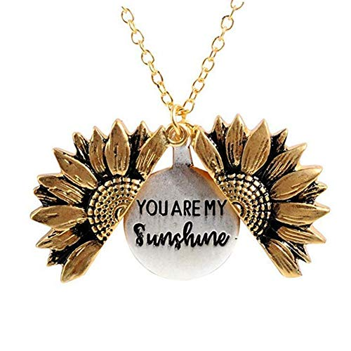You are My Sunshine Chain Necklace Sunflower Locket Necklace Engraved Necklace Gift for Women Girls Children's Jewelry Fashion