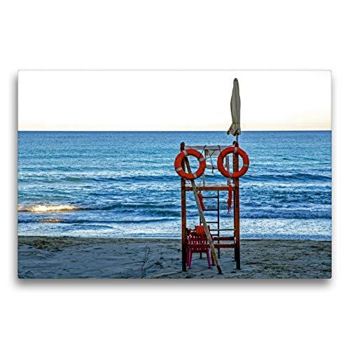 Premium Textil-Leinwand 75 x 50 cm Quer-Format Strand bei Finale Ligure | Wandbild, HD-Bild auf Keilrahmen, Fertigbild auf hochwertigem Vlies, Leinwanddruck von Frank Brehm (www.frankolor.de)