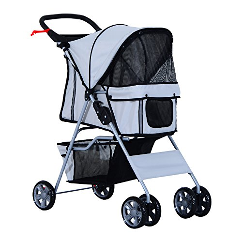 PawHut Pet 4 Wheels Travel Stroller Dog Cat Pushchair Trolley Puppy Jogger Folding Carrier (Grey)