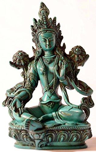 BUDDHAFIGUREN/Billy Held Grüne Tara Figur Buddha Statue, Resin, türkis 20 cm