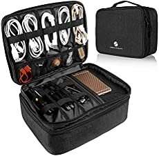 Travel Electronics Organizer, Waterproof Cable Organizer Bag for Electronic Accessories Double Layer Large Shockproof Cable Storage Bag for Cord, Power Bank, Tablet(Up to iPad 11 inch) - Black