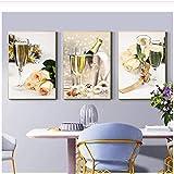 Impresiones de la lona Fiesta romántica Vino amarillo Champagne Pintura Flores de color rosa Imágenes Decoración para el hogar Cocina Arte Carteles para sala de estar 3x50x70cm sin marco