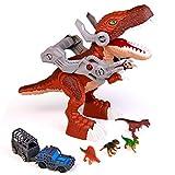 Dinosaurios Juguetes Grande con 4 Figuras Dinosaurios y Coches de Juguete Tyrannosaurus Rex Maqueta Decoración de Dinosaurio Regalo de Cumpleaños para Niños Niñas 3 4 5 Años+