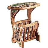 Mesa de centro Tailandesa cesta del almacenaje Mesa auxiliar hecha a mano de madera sólida tallada pintada té Tabla Sala de estar sofá de la esquina sudeste de Asia Side tabla de Brown Mesa para sofá