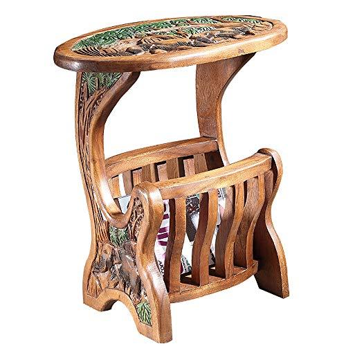 Mesa de centro Tailandesa cesta del almacenaje Mesa auxiliar hecha a mano de madera sólida tallada pintada té Tabla Sala de estar sofá de la esquina sudeste de Asia Mesa lateral muebles for la sala Sa