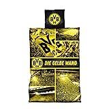 Borussia Dortm&, BVB-Biber-Bettwäsche Gelbe Wand, Gelb, 135x200cm