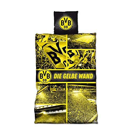 Borussia Dortmund, BVB-Biber-Bettwäsche Gelbe Wand, Gelb, 135x200cm