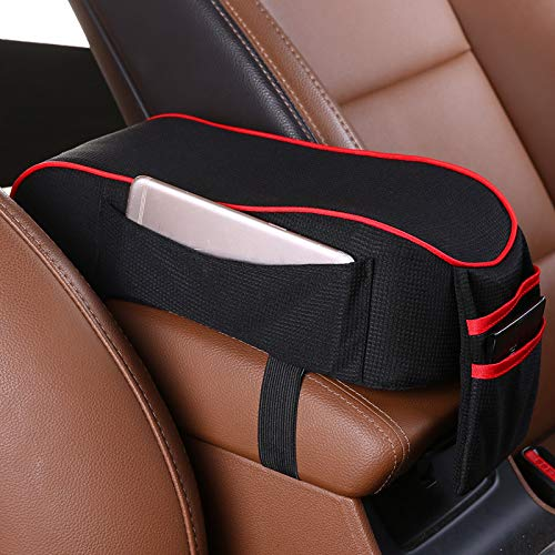 Lanbowo Car Armrest Pad, Car Armrest Box Cushion Breathable with Storage Mobile Phone Pockets for Driving