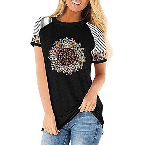 T-Shirt Damen Oberteile Leopardenstreifen Sonnenblume Drucken Shirt Sexy Oberteile Teenager Mädchen Casual Briefdruck Kurzarm O-Ausschnitt Lose T-Shirt Bluse Tops Sport Tshirt