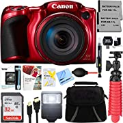 ANMEATE PowerShot SX420 is 20MP 42x Optical Zoom Digital Camera (Red) + Two-Pack NB-11L Spare Batteries + Accessory Bundle