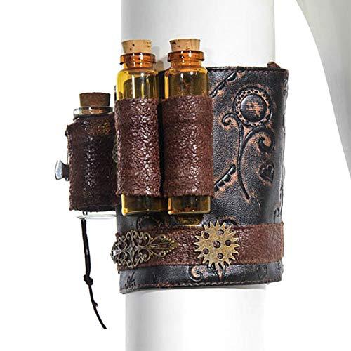 Mageelian Unisex Steampunk Handgelenk Manschette Vintage Armbänder Kunstleder, Armreif Arm Rüstung Manschette - Fläschchen Getriebe, einstellbar (Farbe : Braun)
