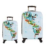 Equipaje, Maletas y Bolsas de Viaje - Premium Designer Maleta Rígida Set 2 Piezas - Heys Artista Fernando World Map Equipaje de Mano + Trolley con 4 Ruedas Media