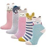LOFIR Kinder Socken aus Baumwolle Mädchen Sneaker Socken Kleinkind Karikatur Niedliche Tier Socken Lässige Sport Schulen Laufen Socken Größe 24-29, für 5-7 Jahre, 5 Paare