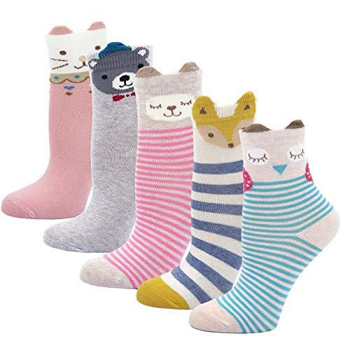 LOFIR Kinder Socken aus Baumwolle Mädchen Sneaker Socken Kleinkind Karikatur Niedliche Tier Socken Lässige Sport Schulen Laufen Socken Größe 31-34, für 8-11 Jahre, 5 Paare