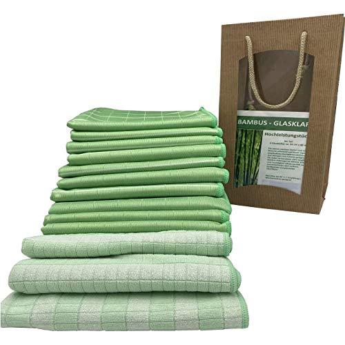 portabest Bambus Reinigung Tücher 13 er Set | Reinigungstücher waschbar wiederverwendbar | Putzlappen für Fenster | Putztücher für Bad und Küche | Bamboo Mikrofaser Tuch – Bambustuch - Hochglanztuch