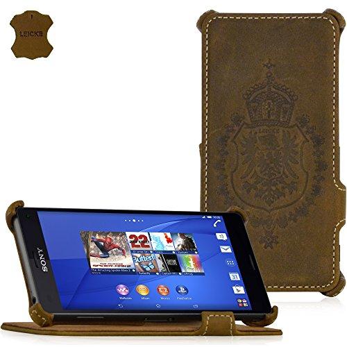 MANNA | Funda de piel genuina para Sony Xperia Z3 | Función EasyStand | Piel Nobuck 'Vintage' (marrón)