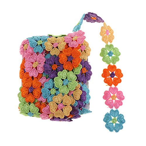 Baoblaze Cinta de Flores Para Faldas Jeans Ropa Ribbon Ribbon en Encaje de Ganchillo con Ropa de Cama de Colores - Corazón de durazno