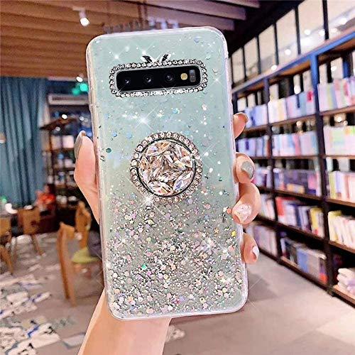 Kompatibel mit Samsung Galaxy S10 Plus Hülle mit Diamant Ring Ständer,Handyhülle Galaxy S10 Plus Glänzend Bling Glitzer Stern Transparent Silikon Hülle TPU Schutzhülle Case Tasche,Grün