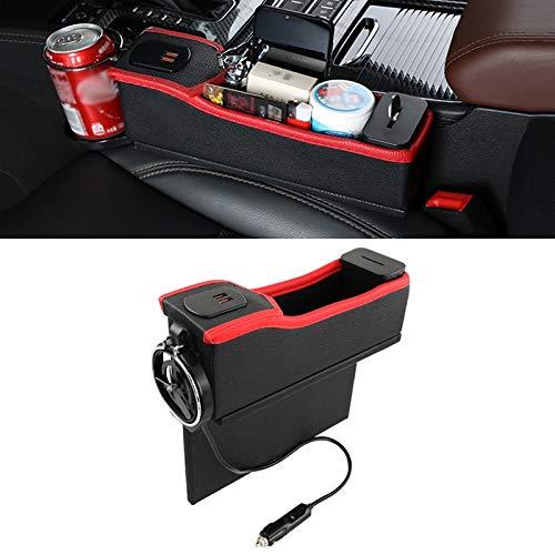 NoNo Auto Lager Box Multi-Funktions-Auto-Hauptfahrersitz Dual USB-Lade Digital-Anzeigen-Aufbewahrungsbehälter Crevice Wasserbecherhalter, for die meisten Autos (Color : Black Red)
